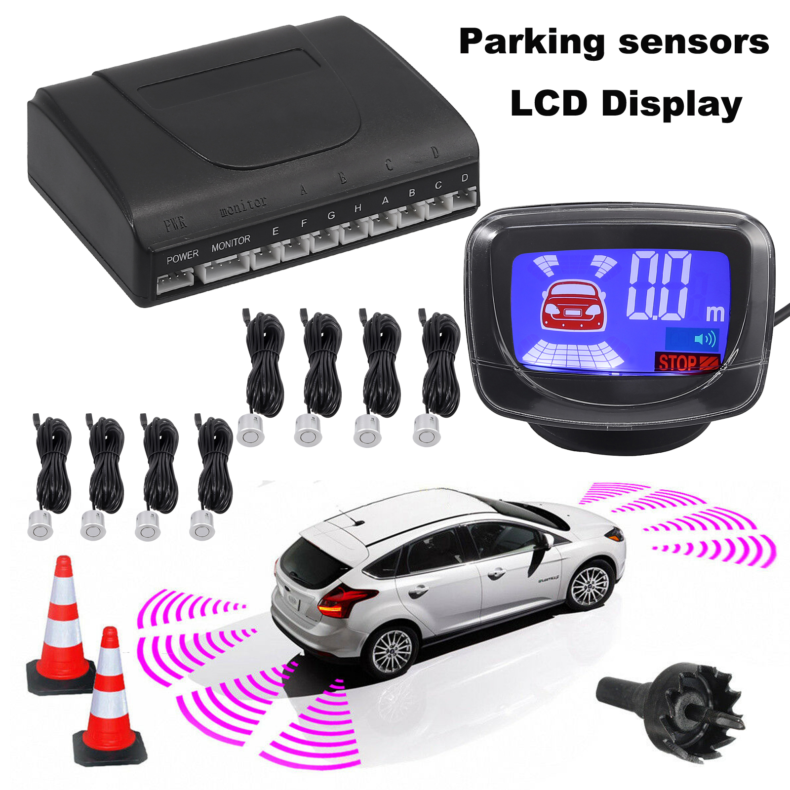 Front Rear Car Reverse Parking 4//8 Sensors Kit Buzzer Alarm Audio System Display