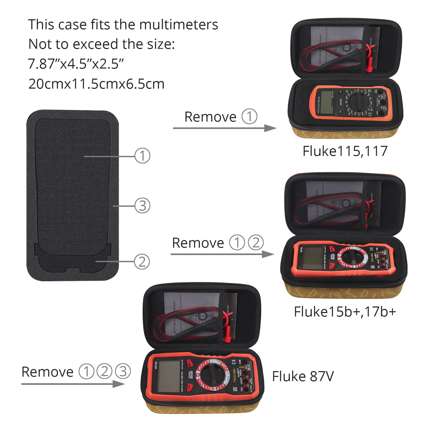 Hard Multimeter Shockproof Case EVA Bag for Fluke 101//115//116//117//113//114//F15B+