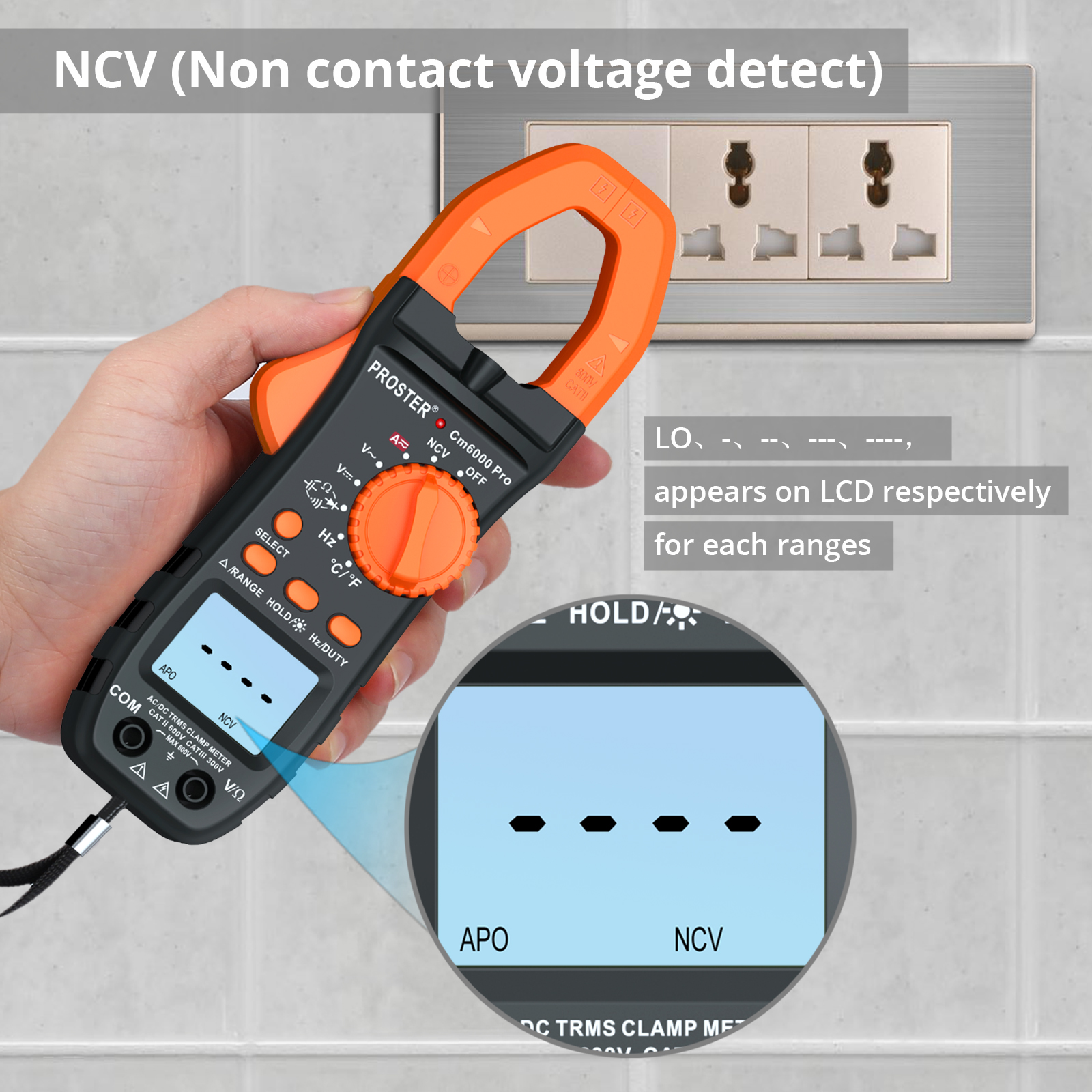 Digital Multimeter Advanced Clamp Meter TRMS 6000 Counts AC//DC Test Auto-Ranging