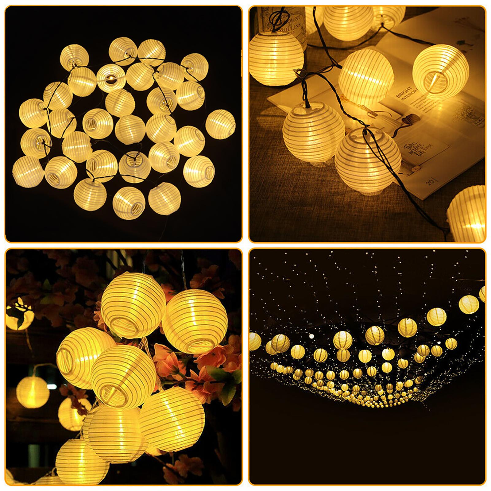 30 Led Warm White Fairy String Lights Solar Power Chinese Lantern Outdoor Decor Ebay