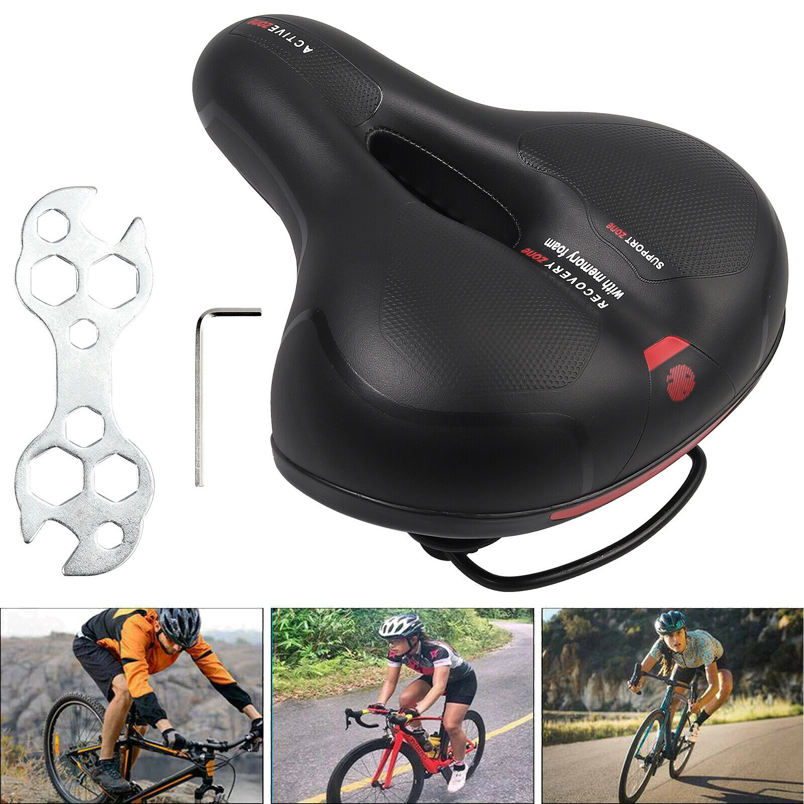 1x Comfort Extra Wide Big Bum Bike Bicycle Gel Soft Pad Saddle Seat Sporty New