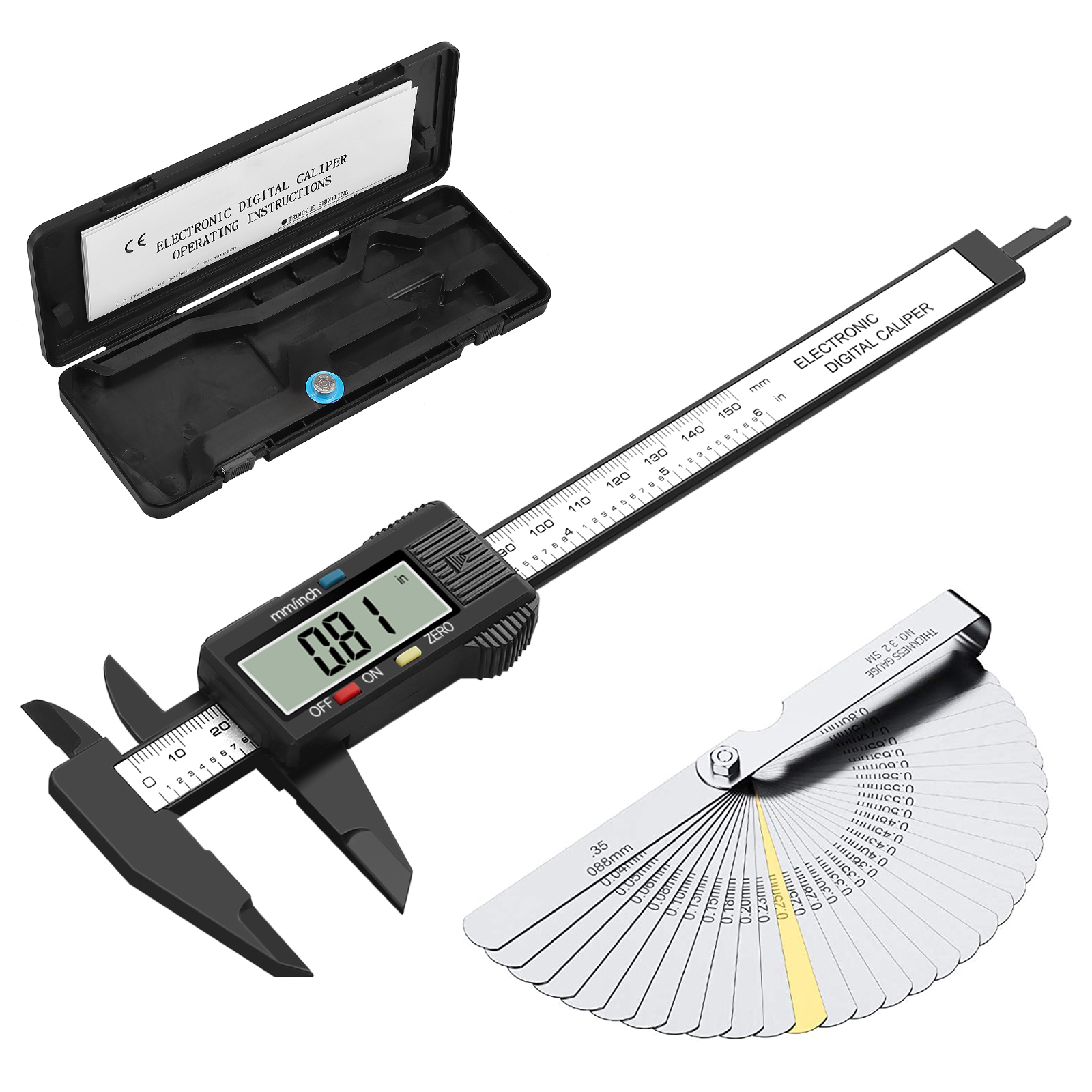 "6/""Digital Vernier Caliper+Feeler Gauge Stainless Steel Electronic Measuring Tool"