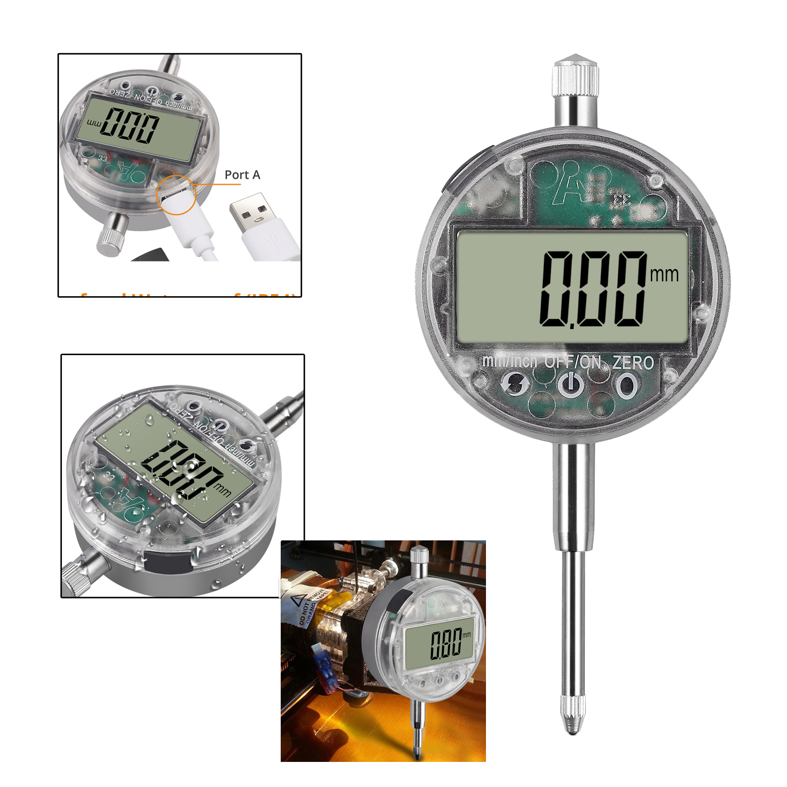 0.01mm//0.0005/'/' Digital Dial Indicator Probe Precision Gauge Range 0-25.4mm //1/'/'