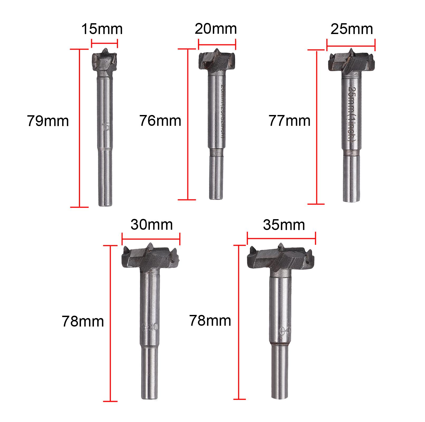 15 con punta di centraggio Set di 5 punte per trapano Forstner Aussel 35 mm autocentrante per legno e compensato