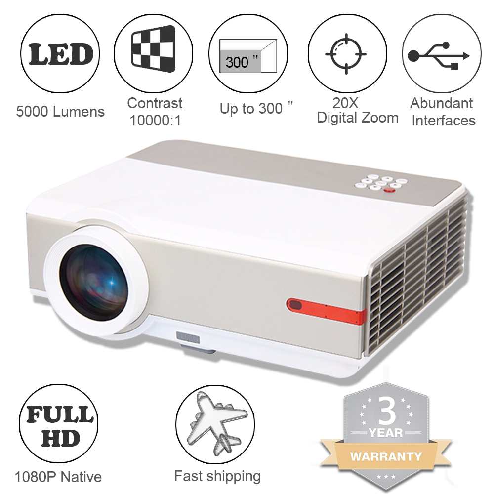 Details about 5000Lumens 4K FULL HD LED Home Theater Projectors 1080p HDMI  RCA TV Movie 300''