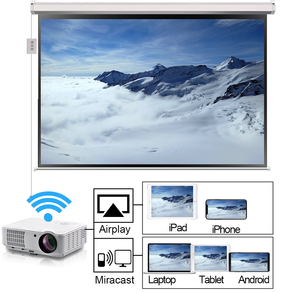 Details about 3D 1080P LED HD WIFI Projector Bluetooth 4000Lumens USB VGA  HDMI Home Projector