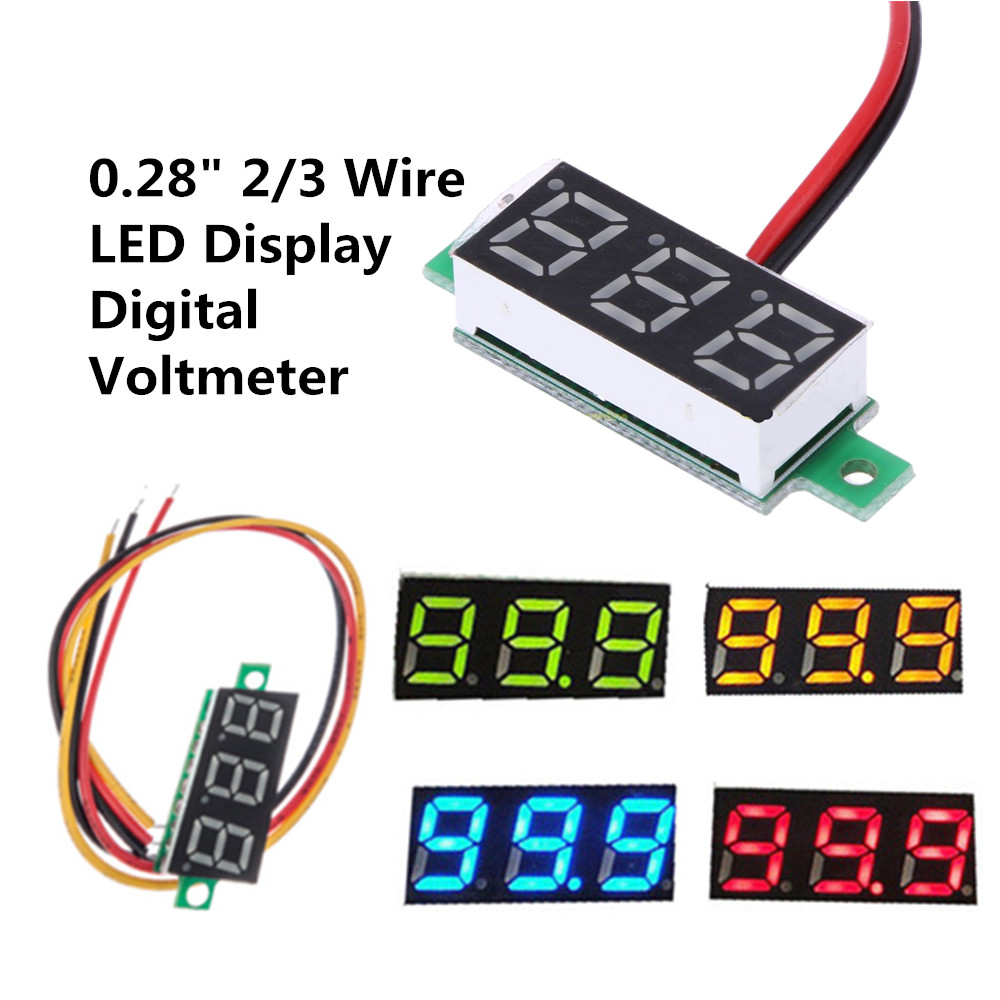 "0.28/"" 2//3 Wire LED Display Digital Voltmeter Gauge Voltage Detector Panel Meter"