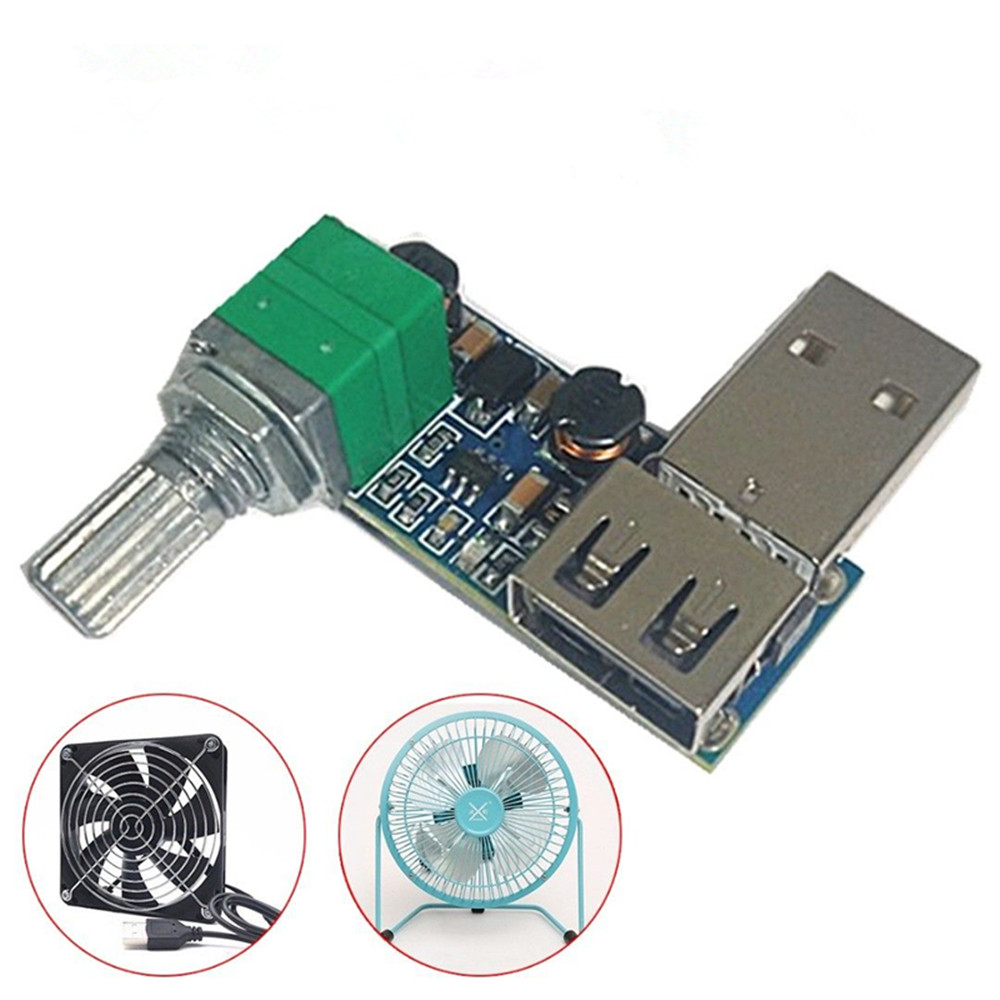 Mini USB Fan Stepless Speed Controller Regulator Variable Switch Module 5V-12V