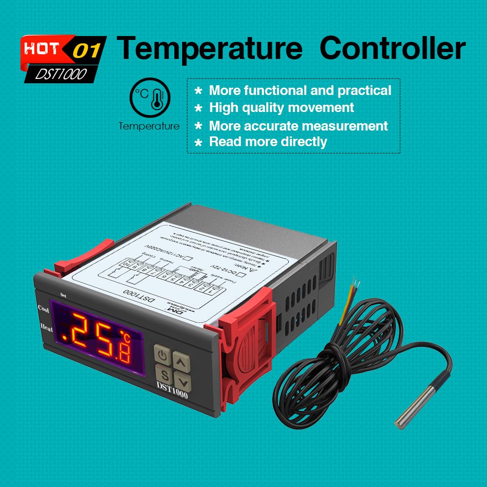 DST1000 DC 12-72 V Température Thermostat Contrôleur et DS18B20 Sonde STC1000
