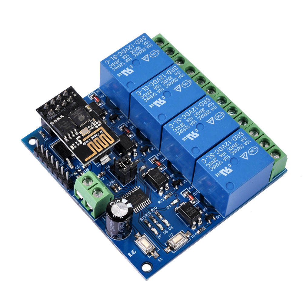 Details about 12V ESP8266 ESP-01 4 Channel WiFi Relay Module For IOT Phone  APP Controller