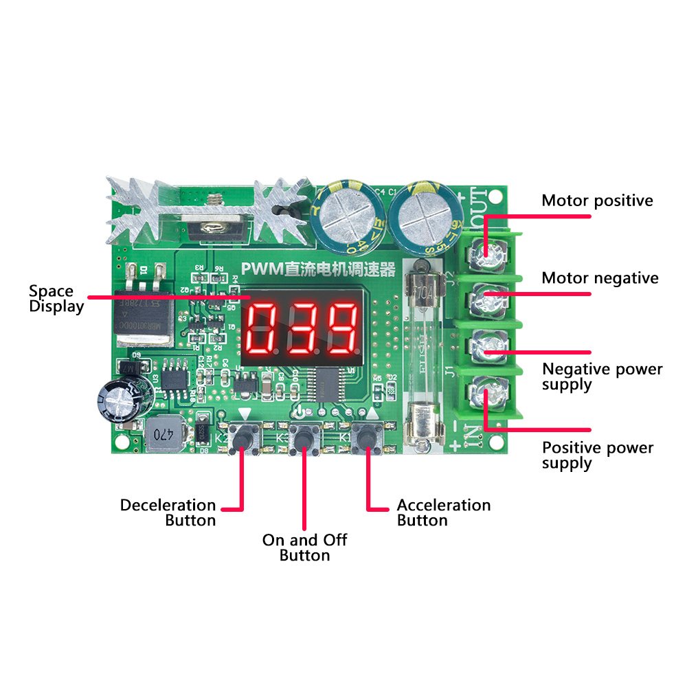 details about digital display pwm motor speed controller 600w 10a governor regulator dc 12 60v Dell Power Supply Diagram