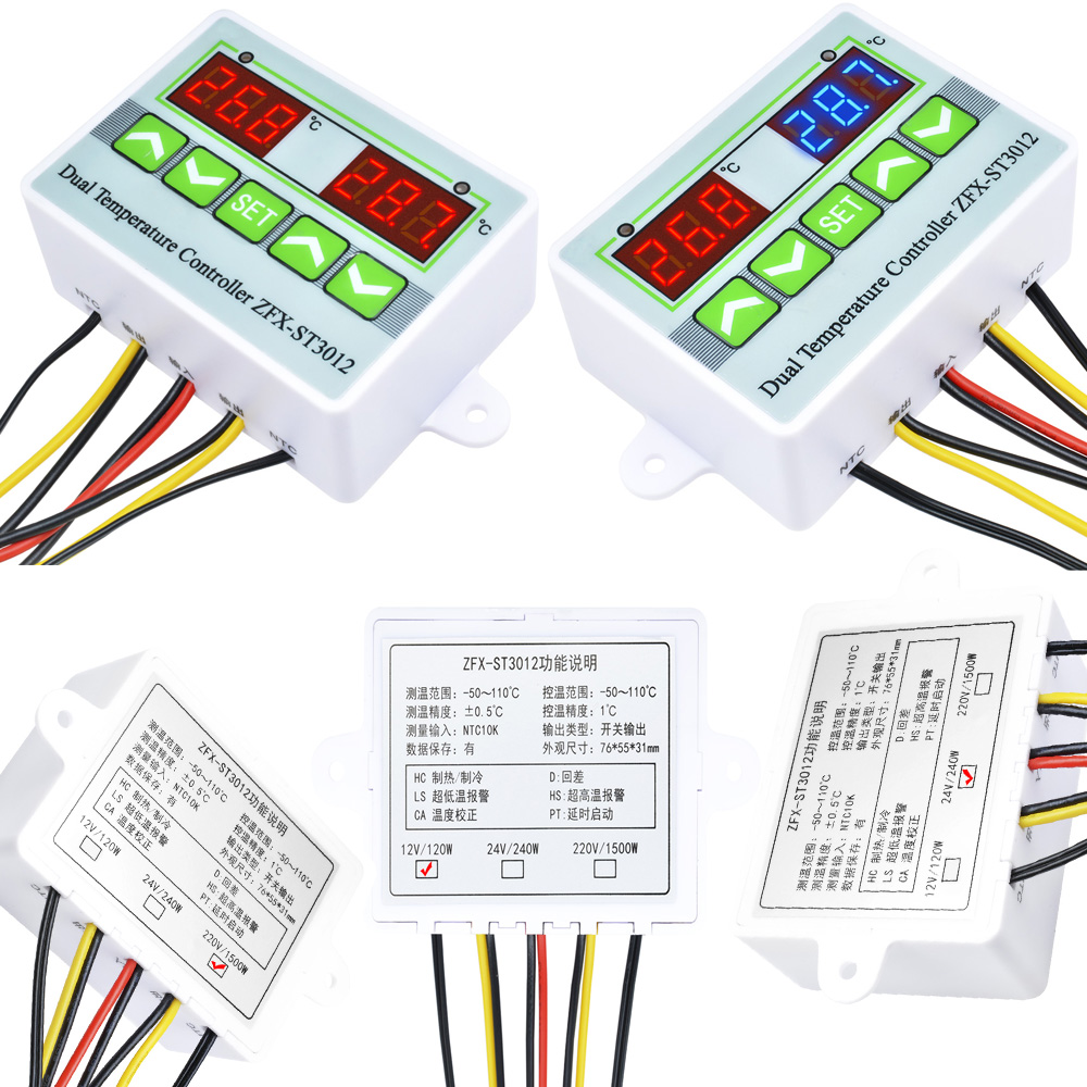 12//24//220V 10A ZFX-ST3012 Dual Display Temperature Controller Thermostat Switch