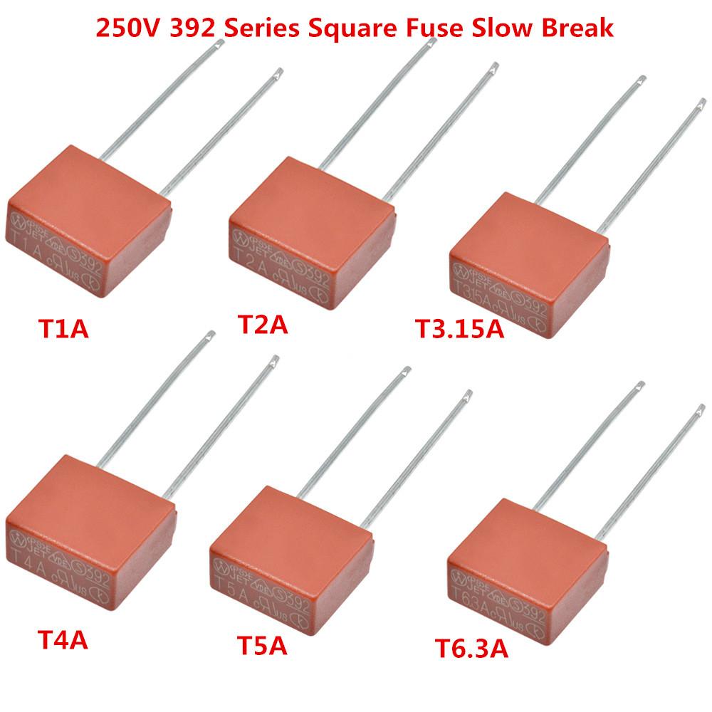 250V T500mA T1A T2A T3.15A T4A T5A T6.3A 392 Series Square Fuse Slow Break