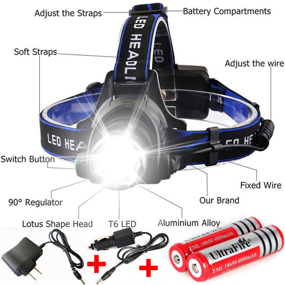 90000LM T6 LED Zoom Headlamp Rechargeable Headlight Lamp Flashlight Head Torch
