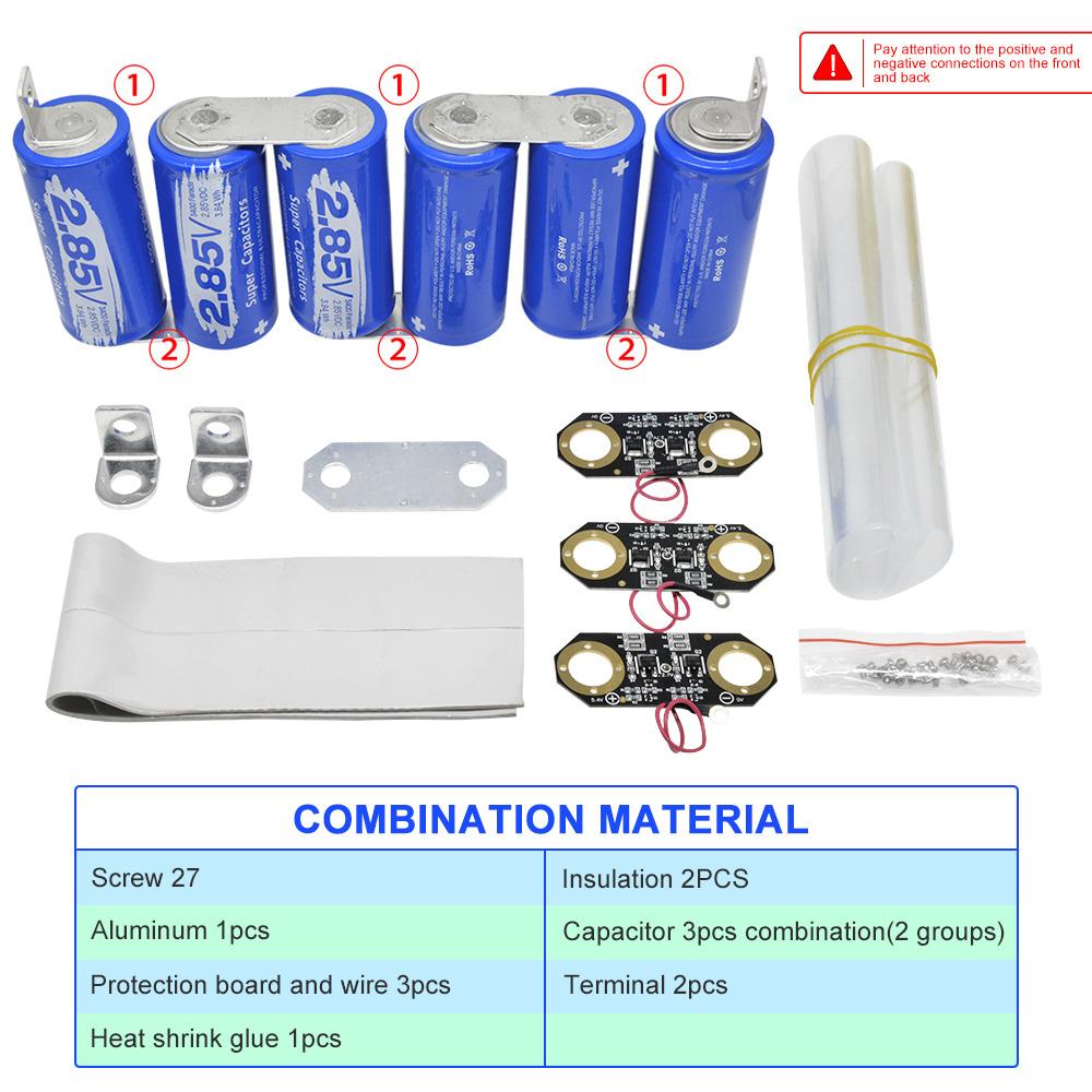 DIY Farad Capacitor Electrical Super Capacity 2.85V-3000F 3PCS+3PCS 17V-566F