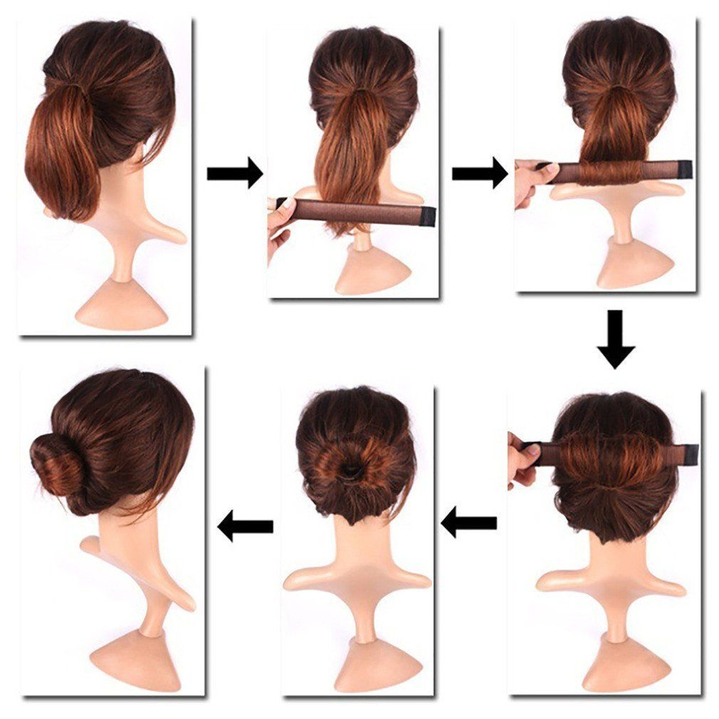 details about women magic hair bun snap style donut former clip french  twist band maker tool