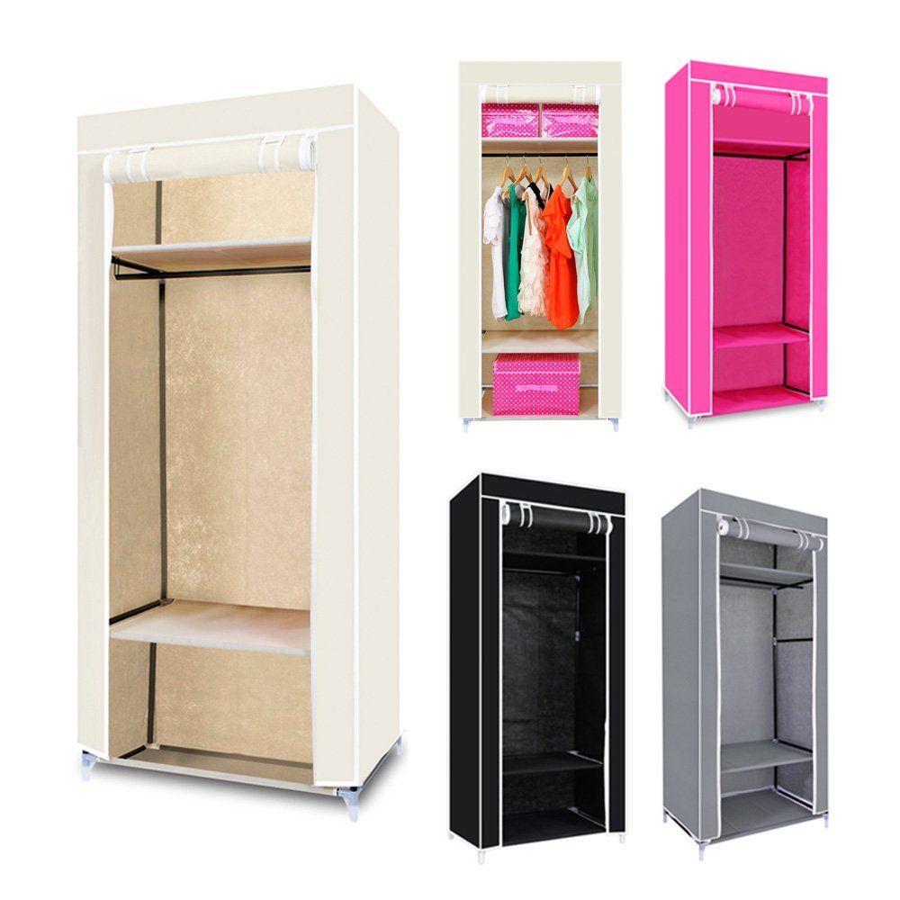 Canvas Storage Boxes For Wardrobes: Single Canvas Wardrobe Bedroom Hanging Storage Furniture 3