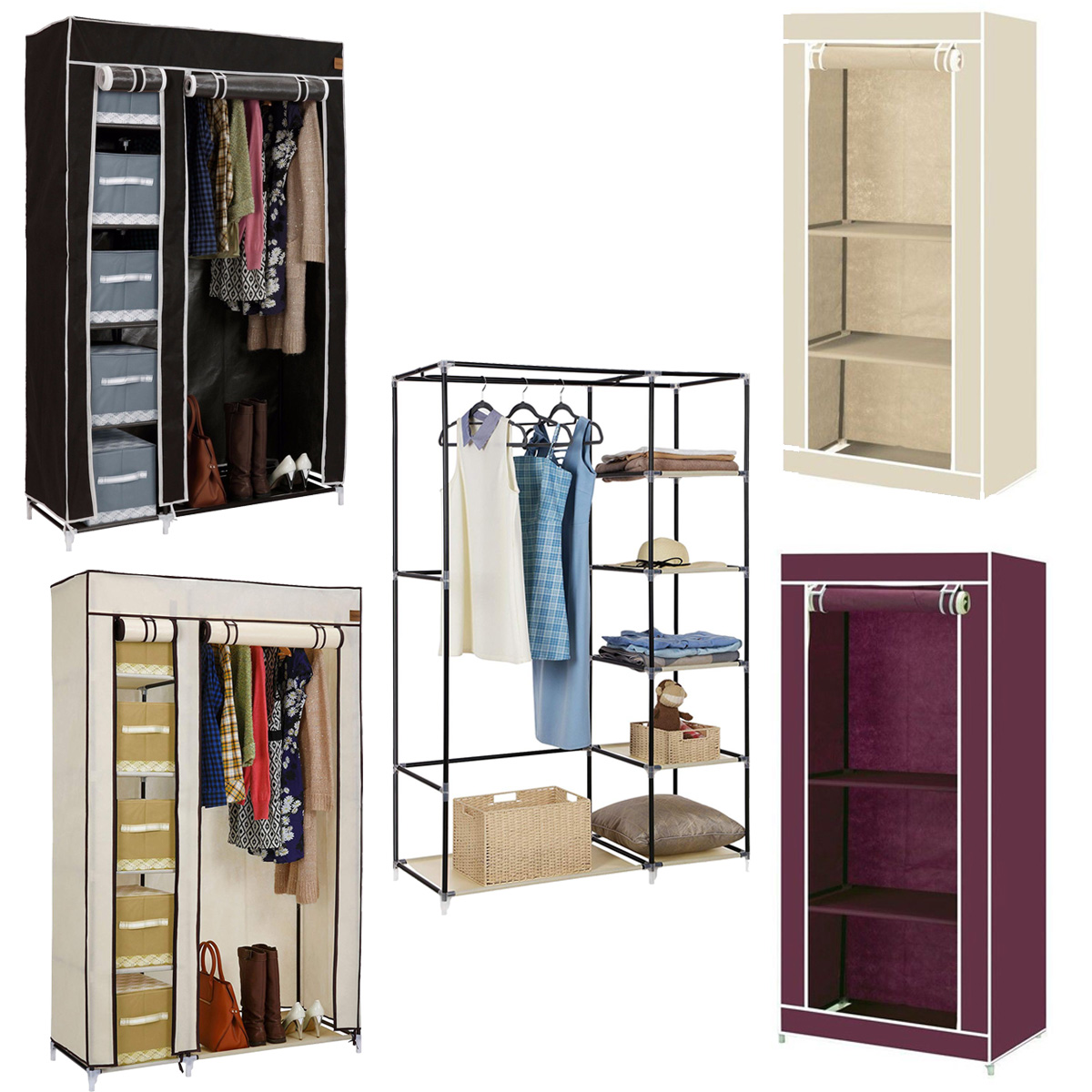 Details About Folding Fabric Canvas Wardrobe Close Storage Cupboard Student Kids Home Bedroom