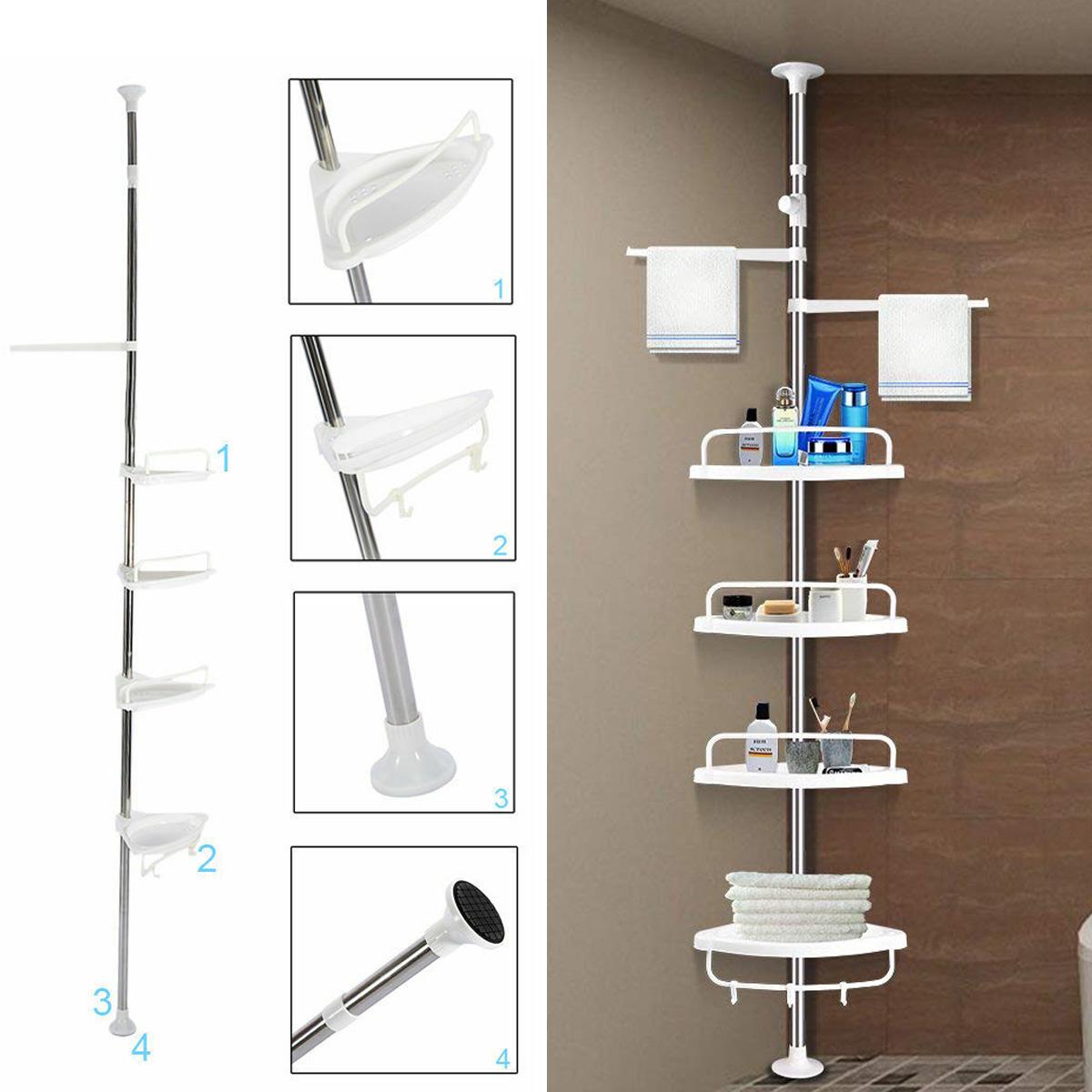 Bath Caddies Storage 4 Tier Shower Caddy Corner Shelf Telescopic Rod Bathroom Organizer Holder Rack Home Garden