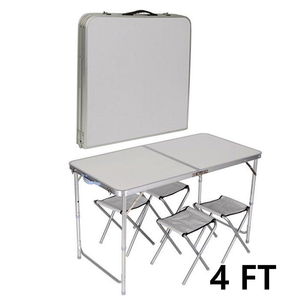 4FT Portable Adjustable Folding Table and Chair Camping Outdoor Picnic Party BBQ