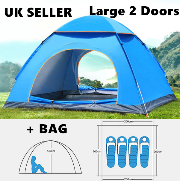 Details about Waterproof Auto Pop Up Tent 4 Man Person Family Tent Portable BAG Outdoor Travel