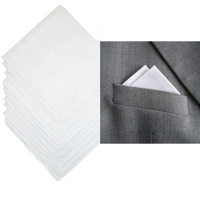 12pc Handkerchiefs Plain White Men x 40cm 100/% Cotton Square Pocket Hankie Hanky