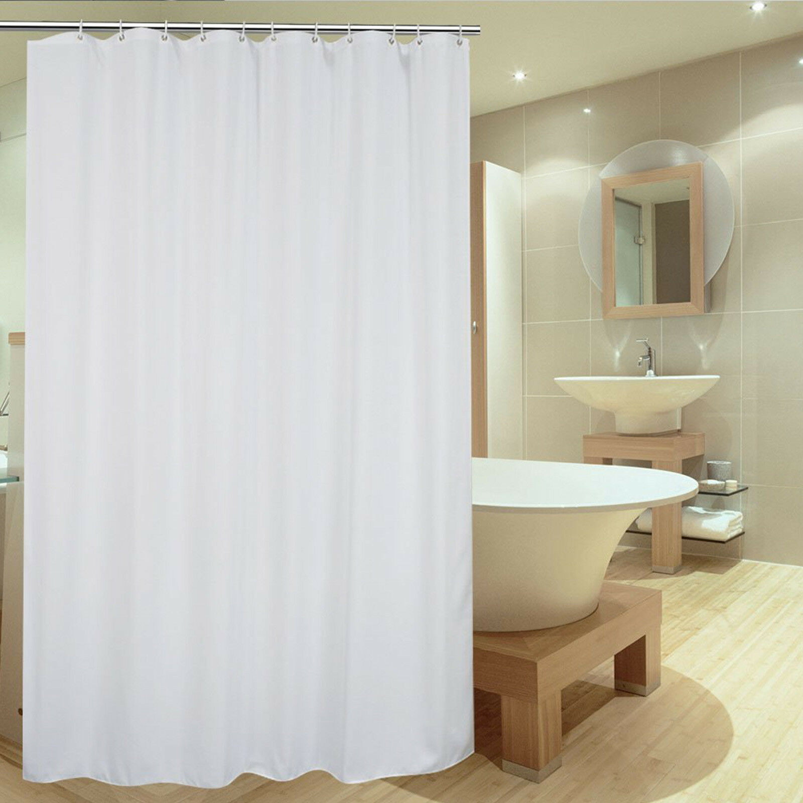 Details About 3mx2m Extra Long Waterproof White Plain Shower Curtain Bathroom With Hook Ring