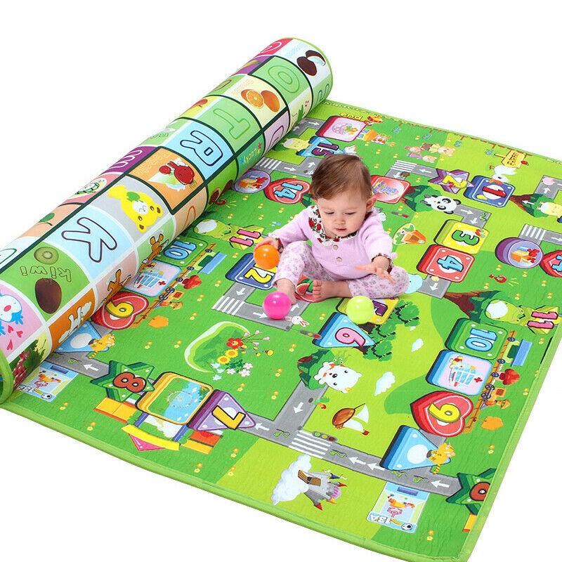 Children/'s Road Map Kids Play Mat Race Car Rug Runner Nursery Home 130x160cm