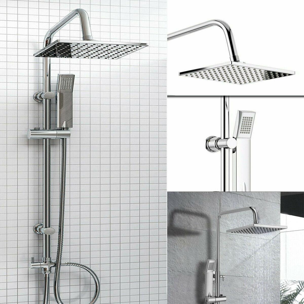 Bath Thermostatic Concealed Square Mixer Valve Shower Head Riser Rail Chrome Set
