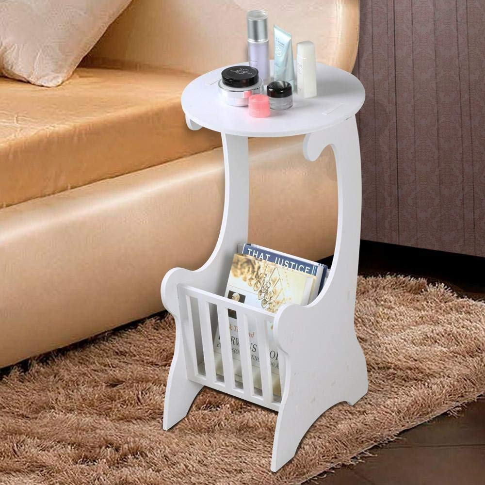 White Wood Side Lamp Small Round Coffee Table With Storage Magzine