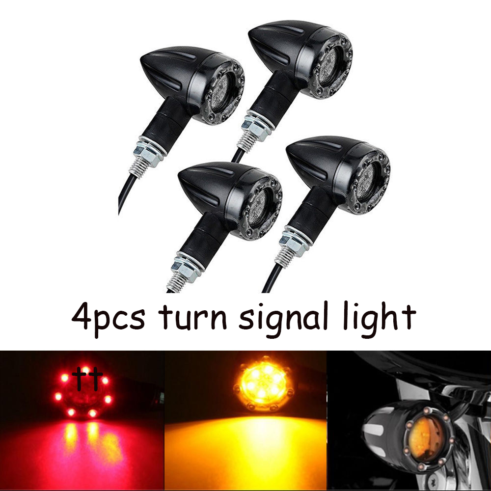 Details about 4x Motorcycle 12 LED 3 Wires Turn Signal Blinker Brake Lights  Black Bullet USA