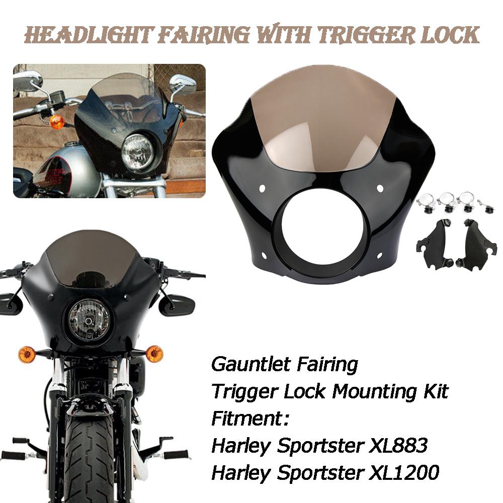 HAPPY-MOTOR Motorcycle Headlight Chromed Mount Bracket for Harley Sportster XL 883 1200 Models