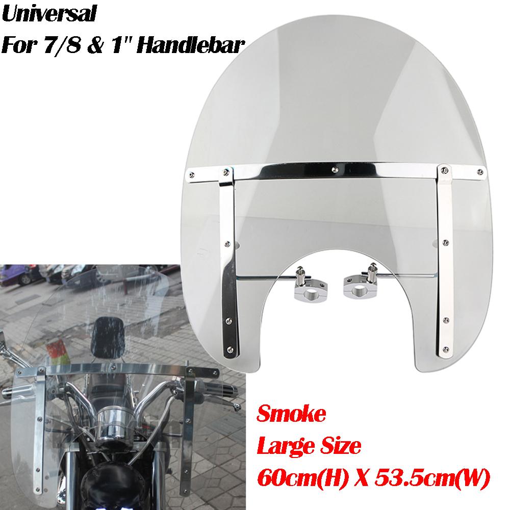 Large Clear Smoke Windshield for Yamaha Cruiser Motorcycle 7//8 /& 1 Handlebar