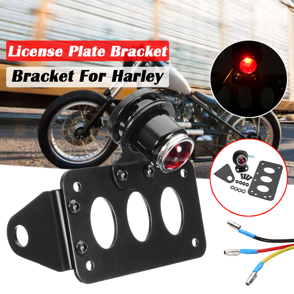 Motorcycle Brake Tail Light License Plate Bracket For Harley Cafe Racer Chopper