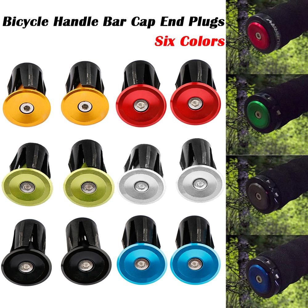 1 Pair Aluminum Bike Handlebar Grips Cap Plug Handle Bar Caps End Plugs Stoppers Cycling