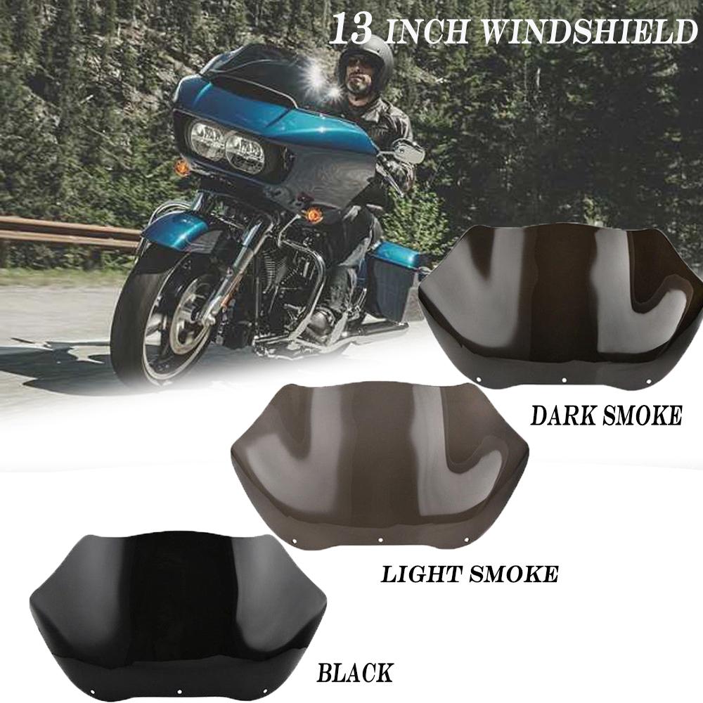 """USA 9.5/"""" Black DARK Wave Windshield for Harley Road Glide FLTR FLTRX 1998-2013"""