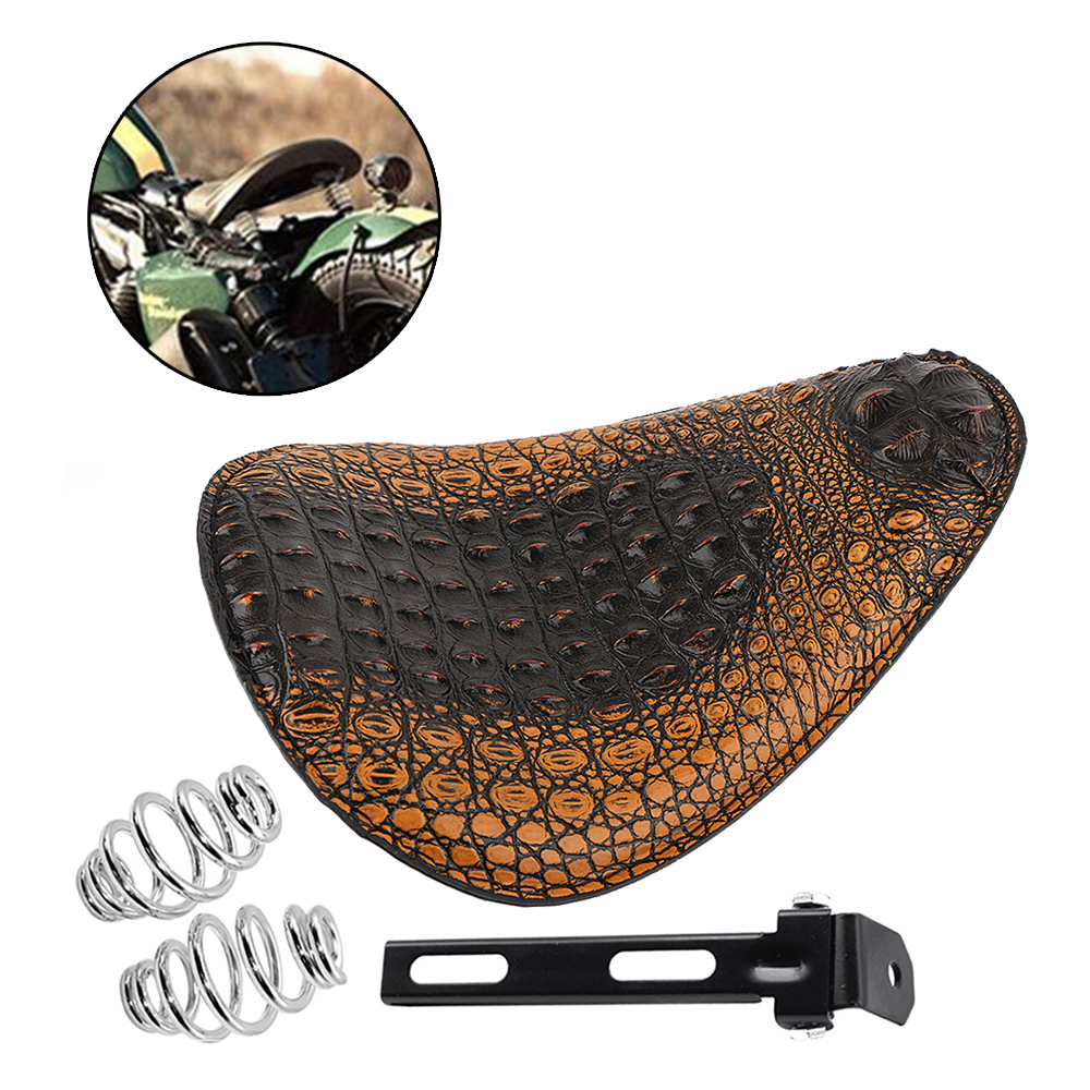 Retro Solo Custom Leather Motorcycle Seat For Harley Bobber Chopper Hand Tooled