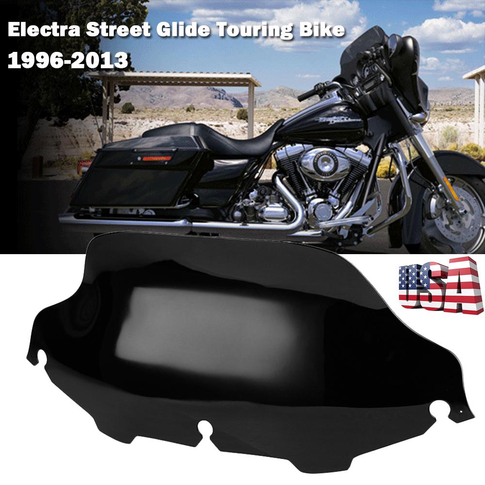 "10/"" Dark Smoke Wave Windshield Windscreen For Harley Electra Street Glide 14-up"