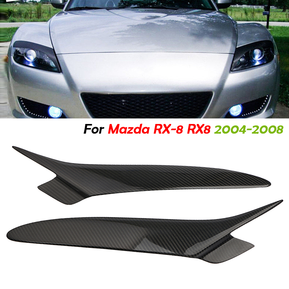 Carbon Fiber Front Headlight Eyebrows Eyelids Cover Trim For Mazda RX8 2004-2008