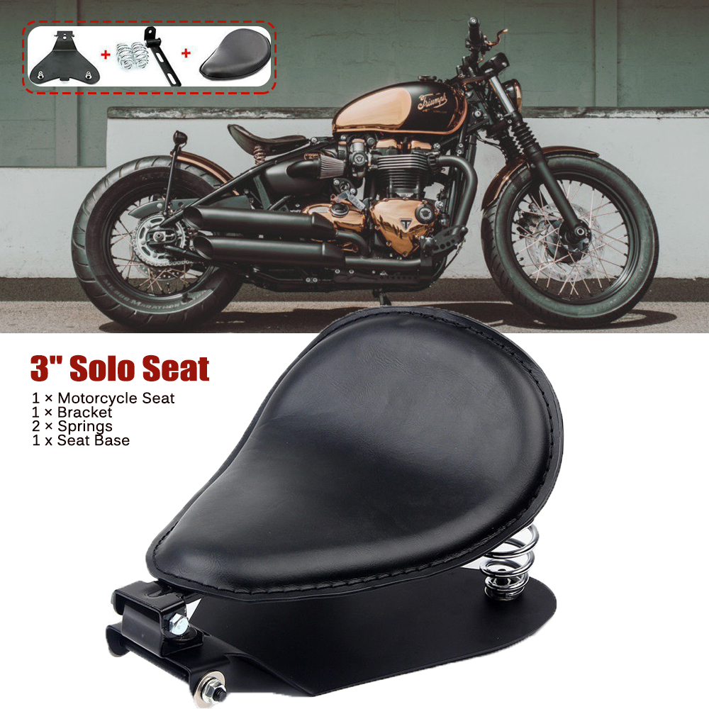 Solo Seat Cushion With Springs Bracket Mounting For Harley Chopper Bobber Custom