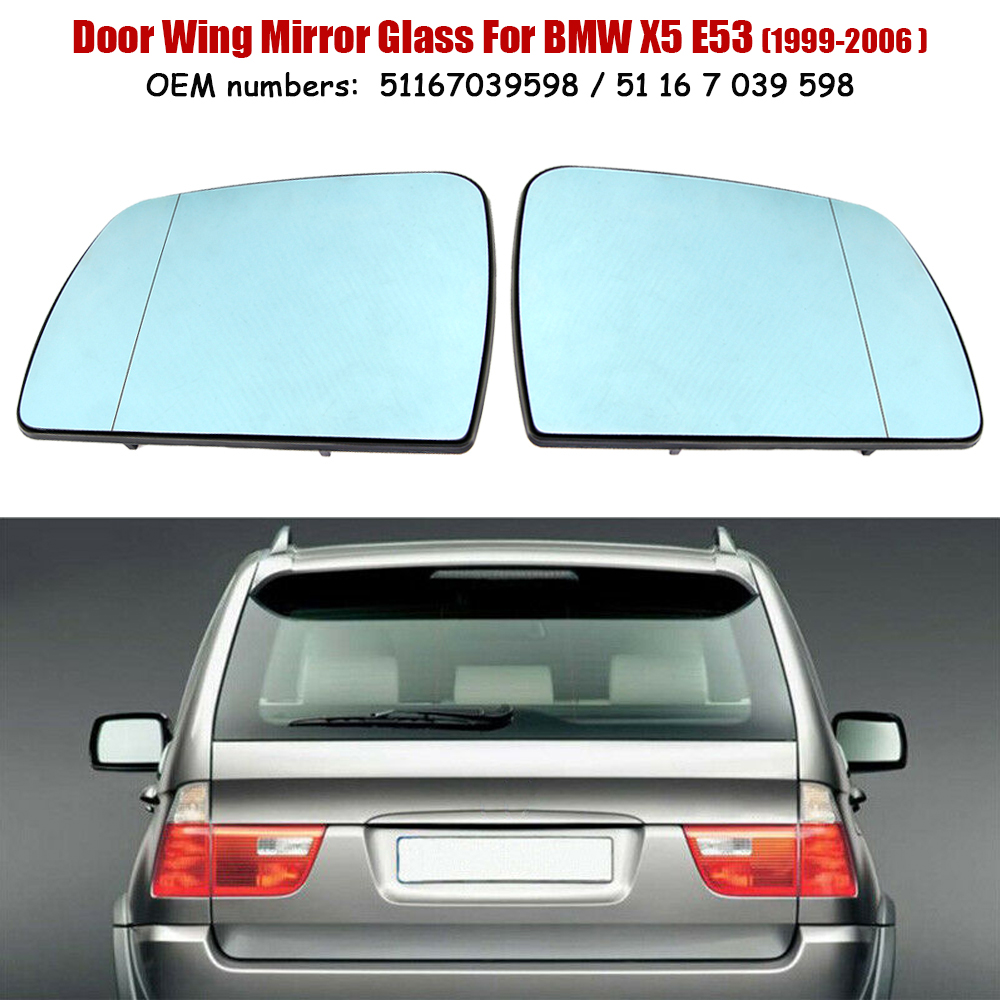1Pair Side Door Mirror Glass Cover White Clear for BMW X5 E53 Left/&Right Side US