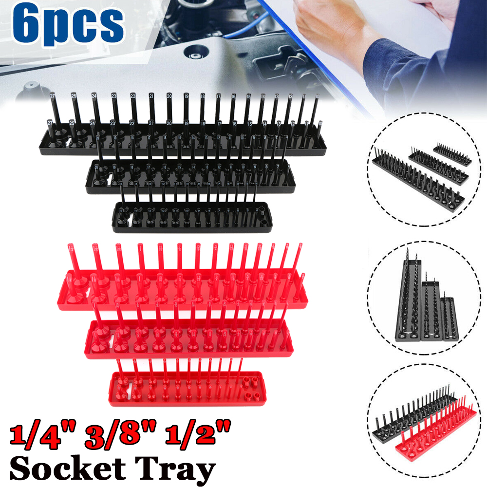 "1//2/""- SAE//Metric 3//8/"" ABS Plastic Socket Organizer Holder Storage Trays 1//4/"""