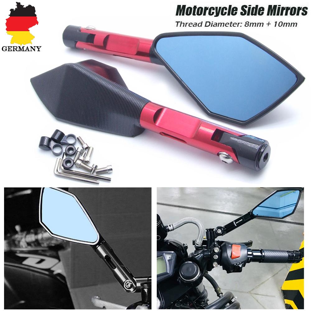10mm//8mm CNC Rückspiegel Universal Spiegel für Motorrad ATV Quad Scooter Roller