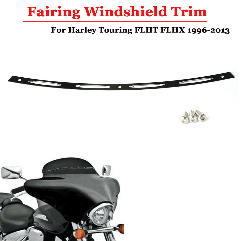 Black Slotted Batwing Windshield Trim For Harley Touring 1996-2013 E1