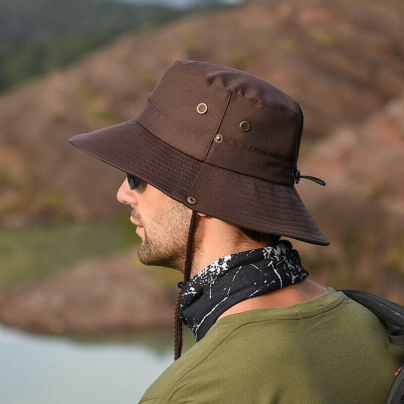 Sun Hat Breathable Mesh Hat Foldable UV Protection Wide Brim Bucket Hat with Adjustable Drawstring Unisex for Travel Camping.JNINTH