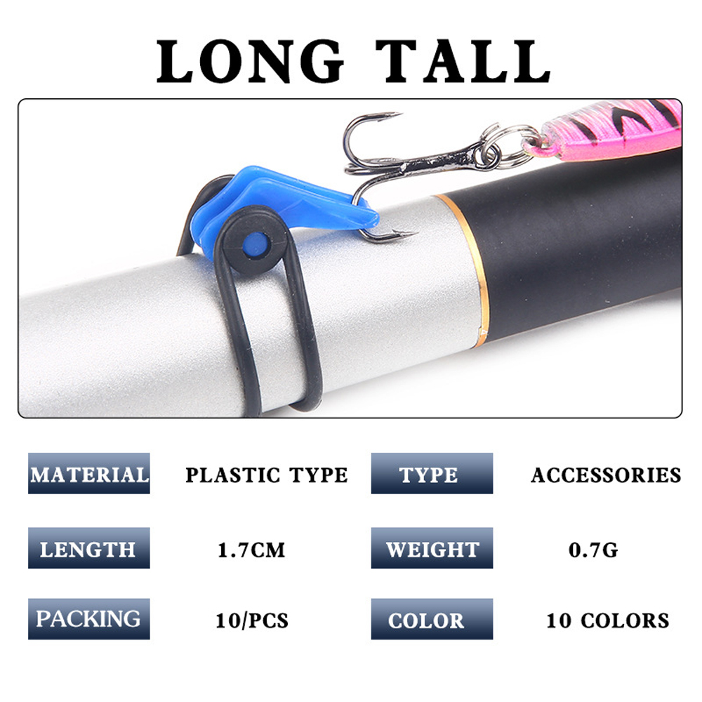 10pcs Fishing Rod Hook Keeper Plastic Holder Clip Fishing Tackle