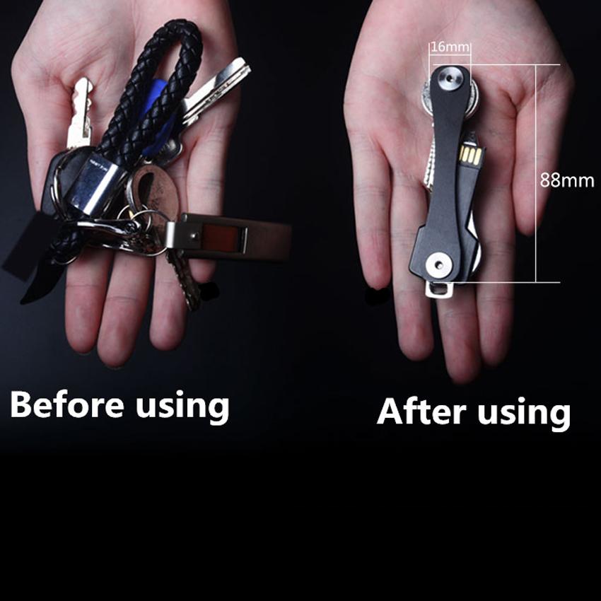 Portable Pocket Aluminum Key Holder Organizer Clip Folder Keychain Keyring US