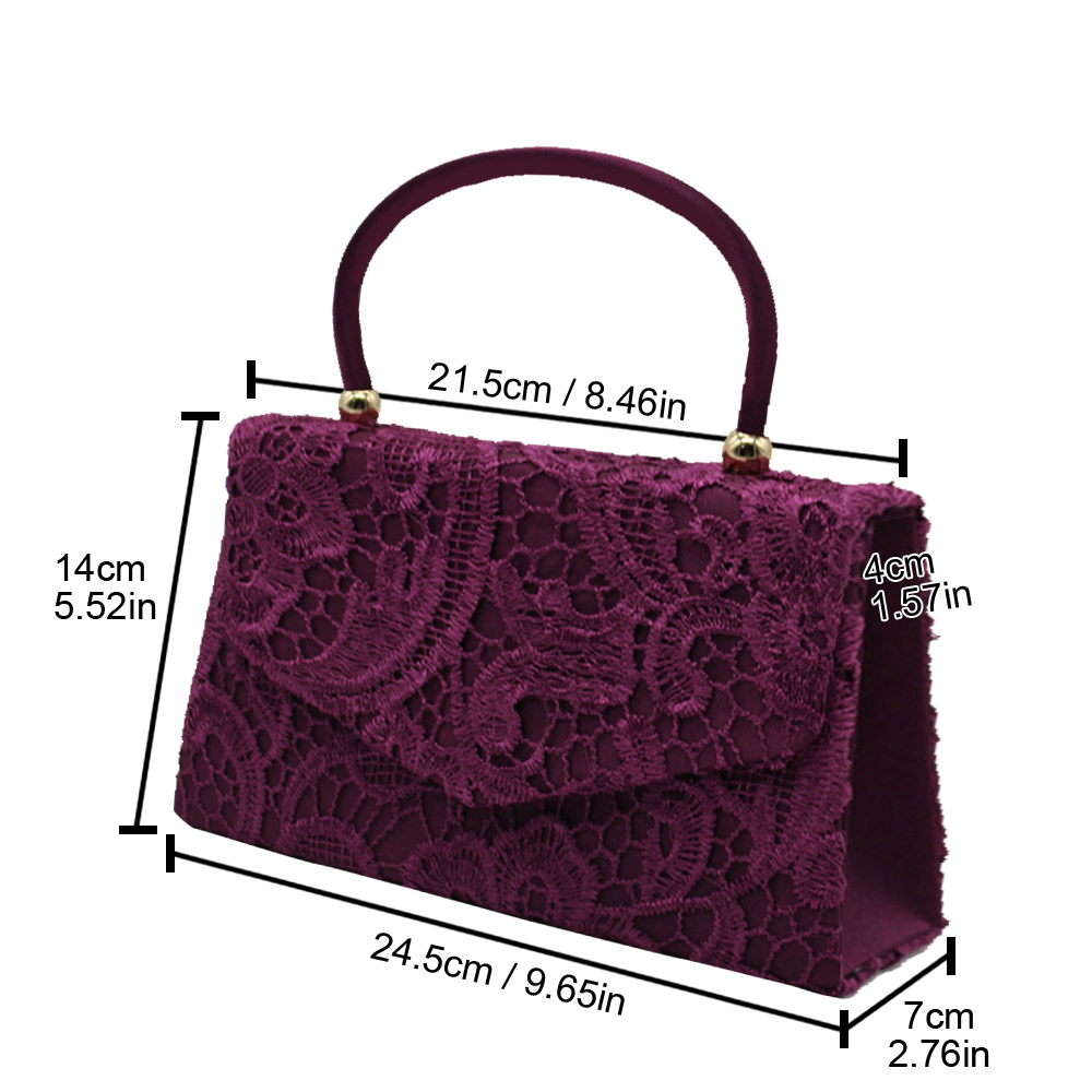 LACE FLORAL LADES PARTY PROM BRIDAL EVENING CLUTCH HAND BAG PURSE HANDBAG