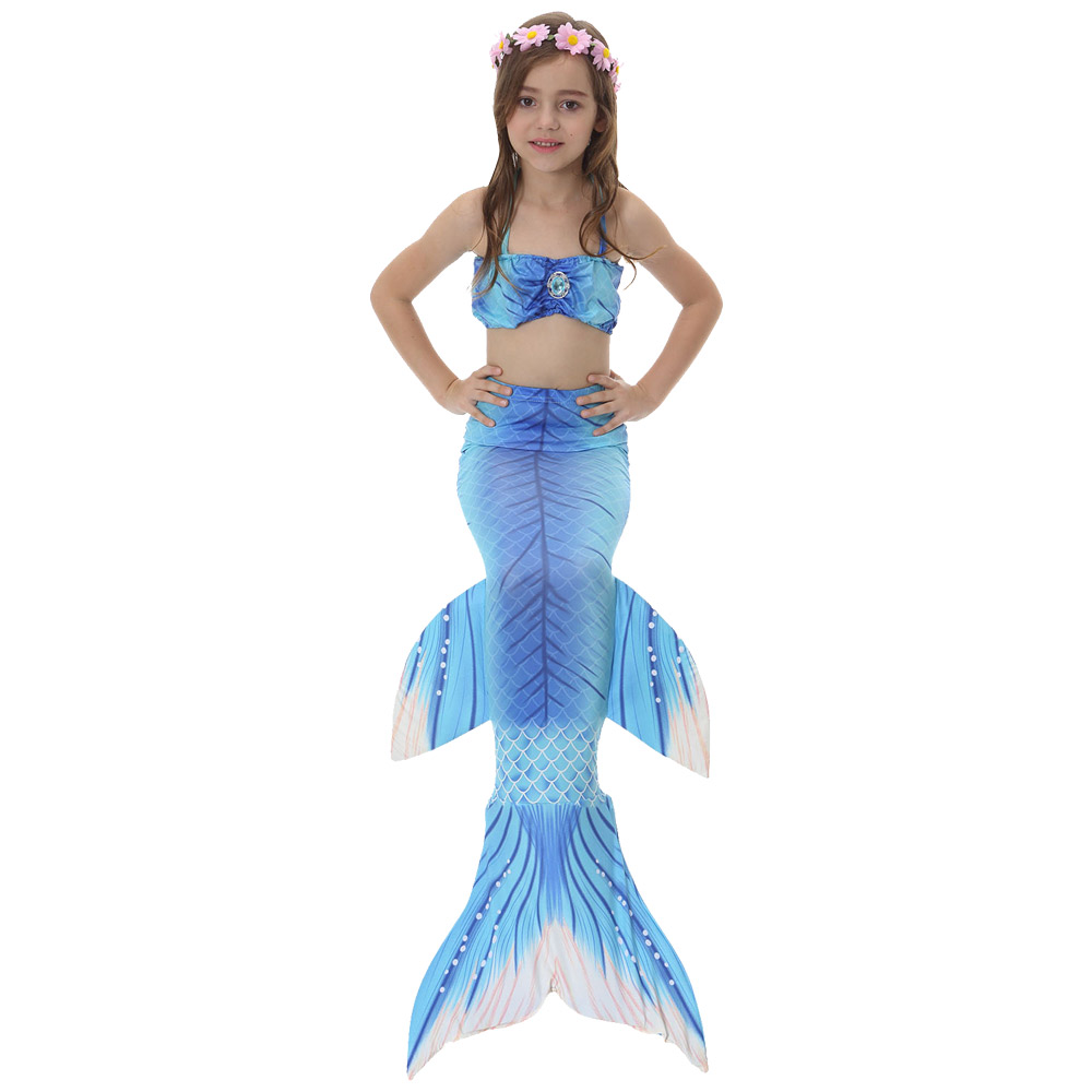 Fancy Swimming Costume Set For Kids Girls Swimmable Mermaid Tail Sea