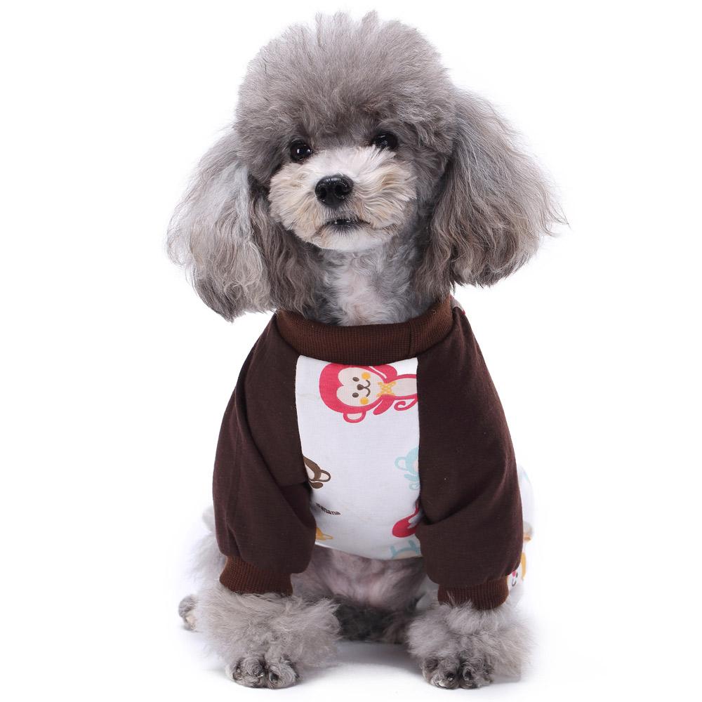 Pets Dog Cartoon Pattern Pajamas Puppy Clothes Jumpsuit Apparel Sleepwear PJS 6
